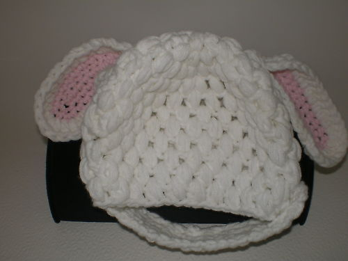 BABY GIRL WHITE LAMB/RABBIT PHOTO PROP HAT WITH OR WITHOUT CHIN STRAP