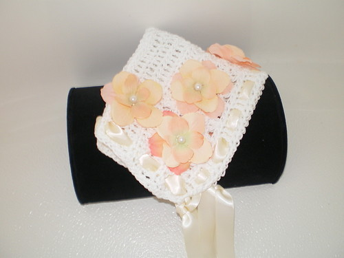BABY GIRL WHITE WITH PEACH AND IVORY TRIM  PIXIE HAT PHOTO PROP