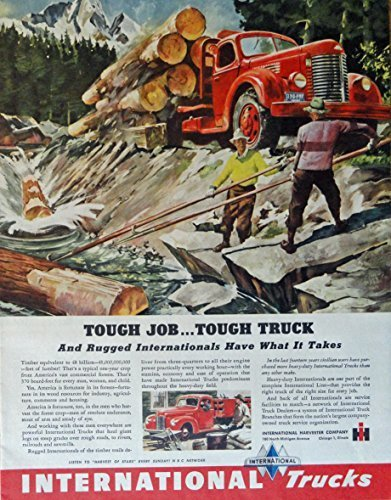 Primary image for 1946 International Trucks, 40's Print ad. Full Page Color Illustration (harve...