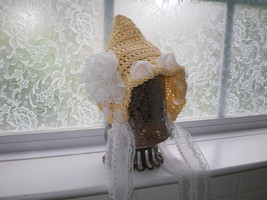 BABY GIRL YELLOW AND WHITE  PIXIE HAT PHOTO PROP - $15.00