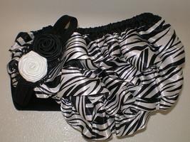 Baby Girl Zebra Print Bloomers With Matching Headband Photo Prop - $14.00
