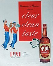PM Whiskey, 40's Print ad. Color Illustration (flowers) Authentic original, V... - $18.99
