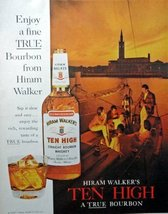 Hirma Walker's Ten High Boubon Whiskey, 60's full page Color Illustration, 10... - $12.86