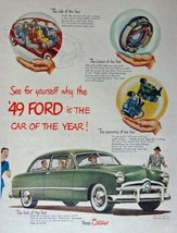 1949 Ford, 40's Print Ad. Color Illustration (the car of the year) Origi... - $14.84