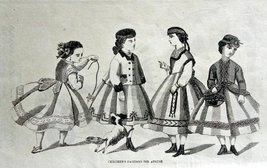 Fashion Page, 1800's Engraved & Printed by Illman Brother's B&W Art, 9 1... - $16.82