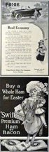 Paige Cars and Swift's Ham or Bacon, 1916 Print Advertisment. B&W Illust... - $12.86