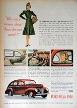 "Ford V-8 for 1940, Full Page 40's Color Illustration, 8"" x 11"" Print Ad.... - $13.85"