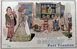 Post Toasties Cereal, 1910 Print Advertisment, Color Illustration 15 1/2... - $17.81