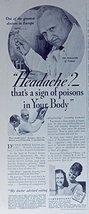 Fleischmann's Yeast, 30's Print ad. B&W Illustration (Headache? that's a sign... - $11.87
