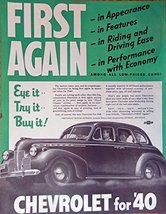 1940 Chevrolet Car, print ad. Full Page Color Illustration (eye it--try ... - $12.86