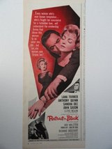 "Portrait in Black,[movie ad] 60's Color Illustration, Print Ad. 5 1/2"" x 13 1... - $12.86"