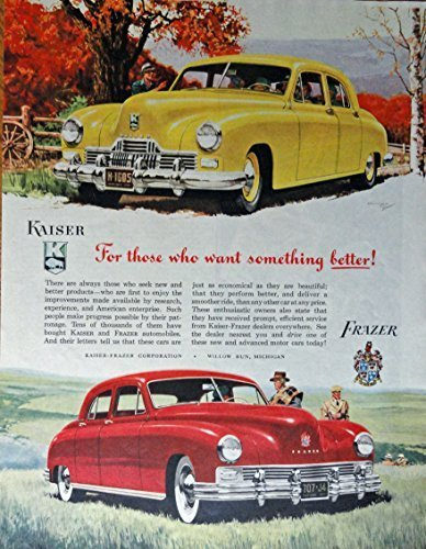 Primary image for 1947 Kaiser, Frazer Cars, 40's Print ad. Full Page Color Illustration (Beauti...