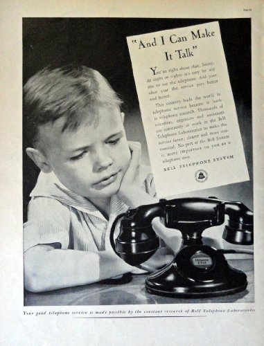 "Primary image for Bell Telephone System, 30's Full Page B&W Illustration, 10 1/2"" x 13 3/4"" Pri..."