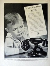 "Bell Telephone System, 30's Full Page B&W Illustration, 10 1/2"" x 13 3/4"" Pri... - $12.86"