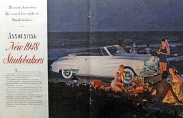 "1948 Studebaker Convertible, 40's Print Ad. Color Illustration 21"" X 13 1/2"" ... - $18.99"