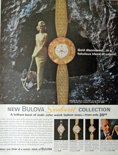 "Bulova Watches, Print Ad. 60's Full Page Color Illustration, 10"" x 13"" Print ... - $12.86"