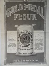"Gold Medal Flour, 1913 B&W Print Ad. Illustration 11 1/4""x16 1/2""[Washbu... - $24.74"