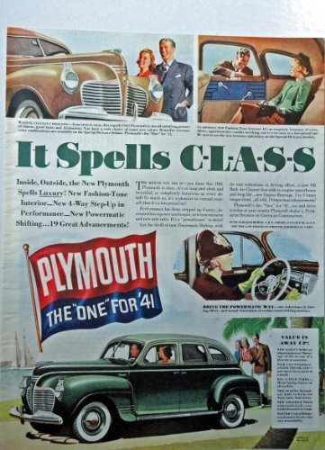 "Primary image for 1941 Plymouth, 40's Full Page Color Illustration, 10 1/2"" x 13 1/2"" Print Ad...."