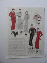 Page of Latest Fashions, 30's Print Ad. Full Page Color Illustration (Novembe... - $14.84