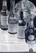 Dry Sack, Bollinger Brut, D.O.M., Dawson Whiskies, 1935 Print Ad. B&W Illustr... - $18.99