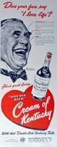 Cream of Kentucky Whiskey, 40's Print Ad. Color Illustration (Does your face ... - $11.87