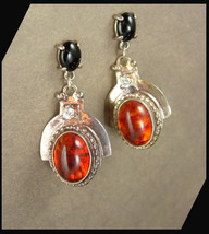 Amber Earrings Sterling Silver Dangle Drops Onyx Pierced Vintage Women's Jewelry - $80.00