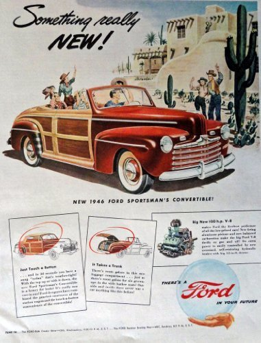 Primary image for 1946 Ford Sportsman Convertible, 40's Print Ad. Full Page Color Illustration ...