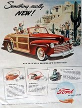 1946 Ford Sportsman Convertible, 40's Print Ad. Full Page Color Illustra... - $13.85