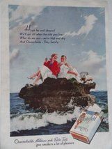 Chesterfield, 30's Print Ad. Color Illustration (man and woman on rock in oce... - $12.86