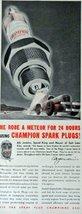 "Champion Spark Plugs, Print advertisment. 40's color Illustration, 5 1/2"" x 1... - $18.99"