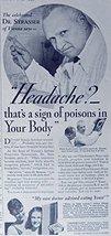 Fleischmann's Yeast, 30's Print ad. B&W Illustration (headache? sign of poiso... - $12.86