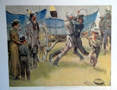 "Harold Von Schmidt, 50's Color Illustration 10 1/2""x9"" Print art (men fightin... - $12.86"