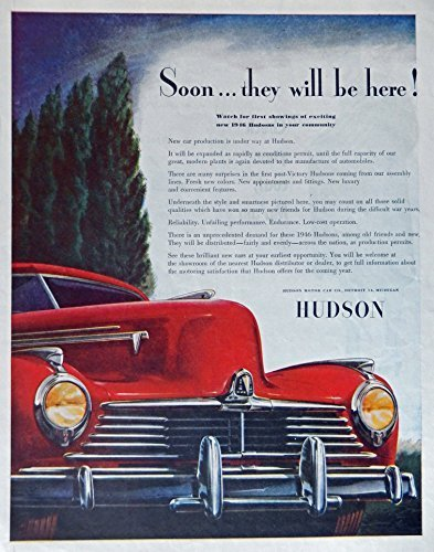 Primary image for 1946 Hudson Car, 40's Print ad. full page Color Illustration (beautiful red c...