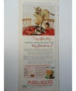 "Puss'n Boots, 60's Color Illustration, Print Ad. 5 1/2"" x 13 1/2"" (cat c... - $11.87"