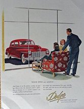 1948 Dodge, 40's Print Ad. Full Page Color Illustration (BEAUTIFUL RED CAR / ... - $18.99
