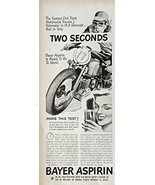 Bayer Aspirin, 40's Print ad. B&W Illustration (motorcycle) Authentic or... - $11.87