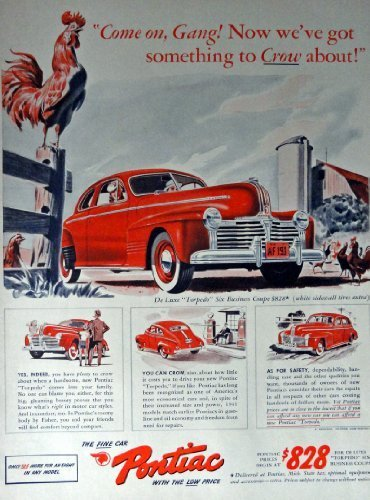 "Primary image for 1941 Pontiac Car, Print advertisment. 40's Color Illustration, 10 1/2"" x 13 1..."