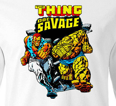 Doc Savage T shirt Long Sleeve retro Marvel Comics 1980's vintage 100% cotton