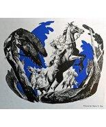 "Henry C. Pitz, 40's color Illustration 8""x7"" Print art (three riders on ... - $11.87"