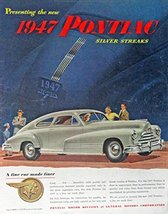 1947 Pontiac Siver Streaks, 40's Print ad. Full Page Color Illustration ... - $13.85