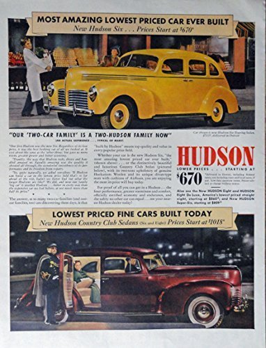 Primary image for 1940 Hudson Car, 40's Print Ad. Color Illustration ($670-most amazing car eve...