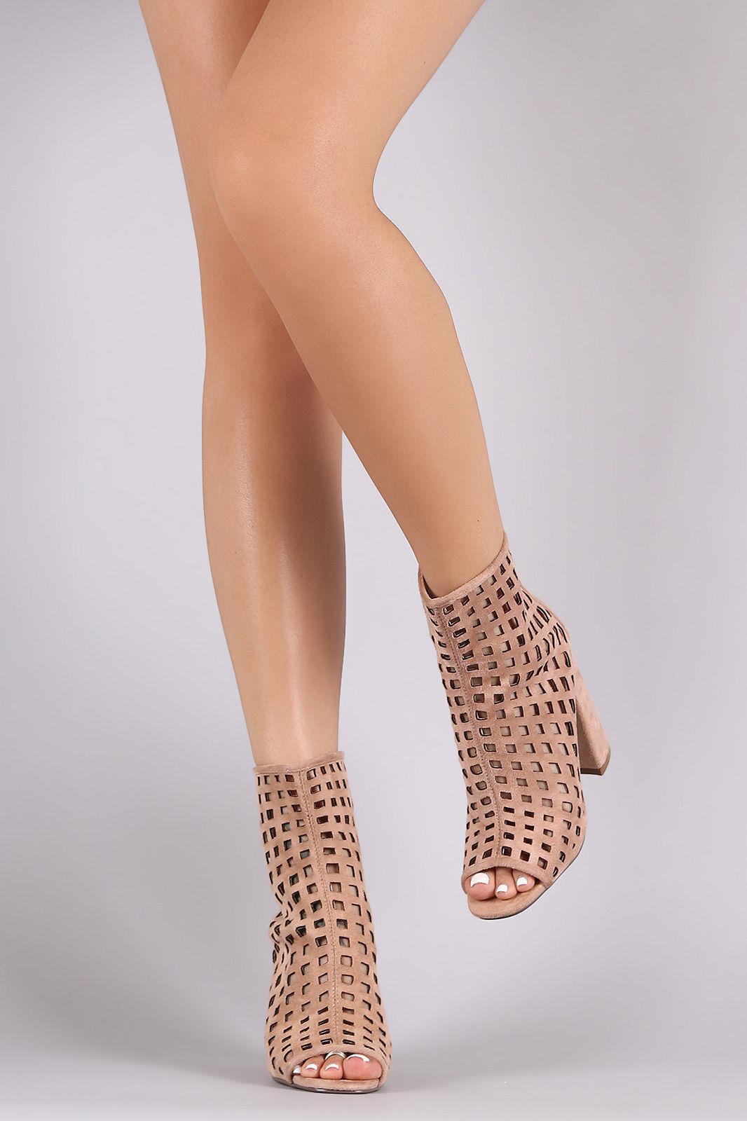 Nude Perforeret Open Peep Toe støvletter chunky Block Heel-7159