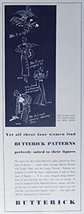 Butterick Patterns, 30's Print ad. B&W Illustration (each of these women has ... - $18.99