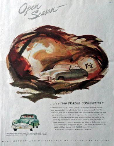 "Primary image for 1949 Frazer Convertible, Print advertisment. 40's Color Illustration, 10 1/2""..."