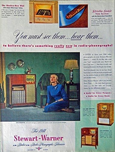 Stewart-Warner Radios, Televisions, 40's Print ad. full page Color Illustrati... - $18.99