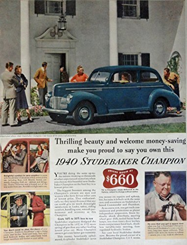 Primary image for 1940 Studebaker Champion, 40's Print ad. Full Page Color Illustration ($660) ...
