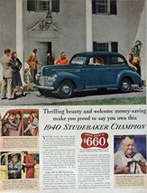 1940 Studebaker Champion, 40's Print ad. Full Page Color Illustration ($... - $12.86