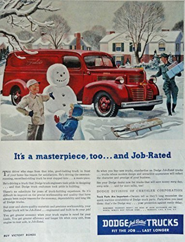Primary image for 1946 Dodge Trucks, 40's Print ad. Full Page Color Illustration (kids playing ...