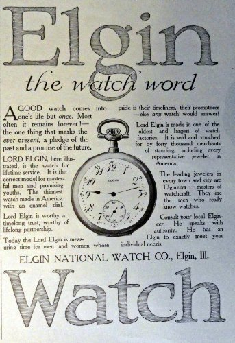 "Elgin Watch, Print Advertisment. 1913 B&W Illustration, 5"" x 7"" Print art. (t... - $18.99"