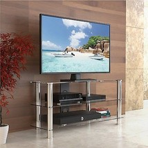 TV Stand Entertainment Center Media Console Clear Glass home theater LCD... - $168.25